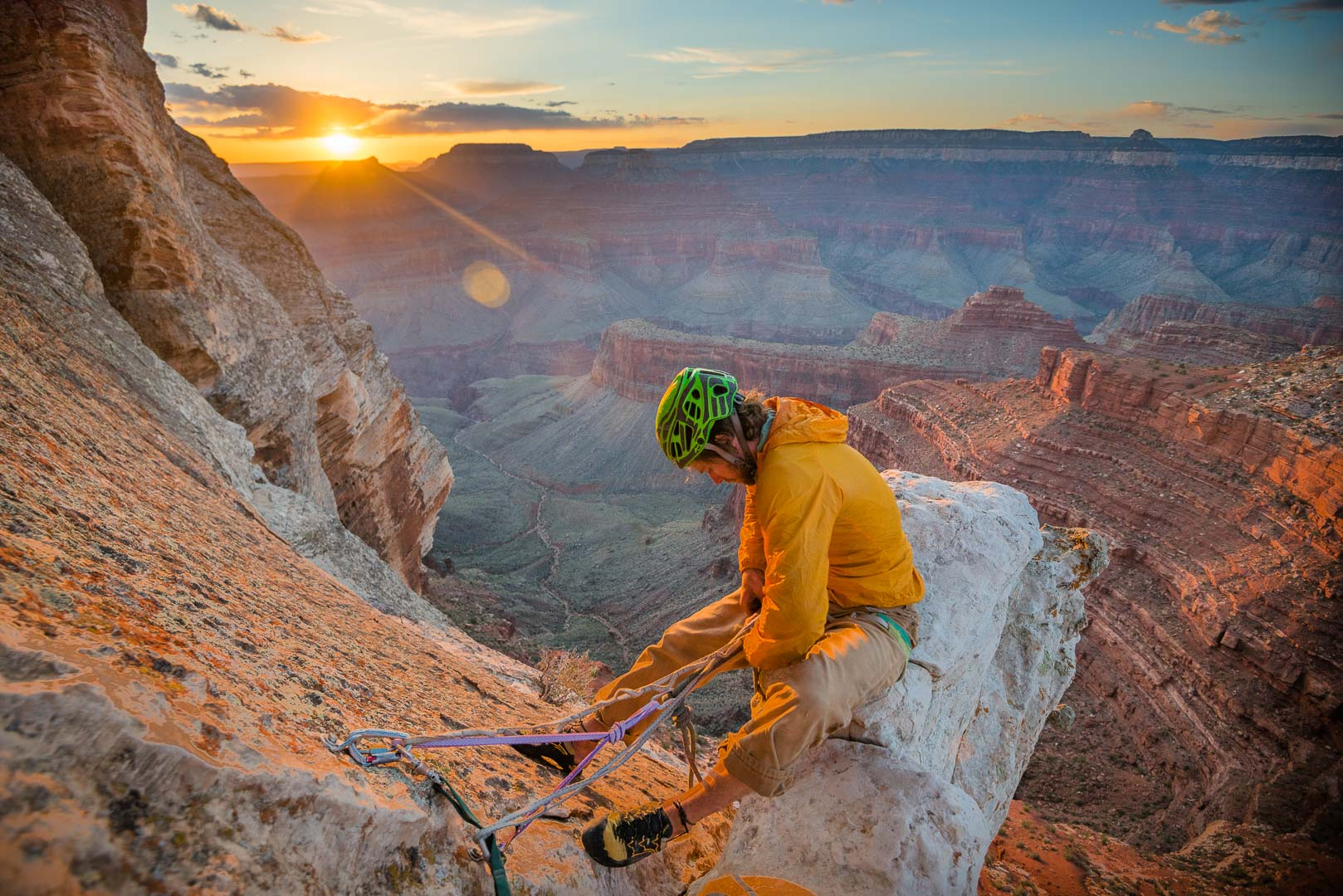 Jeff Snyder prepares to rappel of Zoroaster Temple | Grand Canyon NP, Az